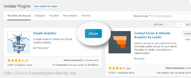 ativar plugin simple analytics