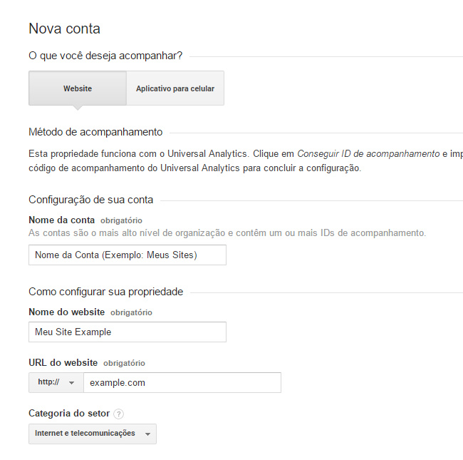 google analytics dados do site