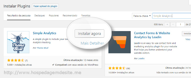 instalar plugin simple analytics