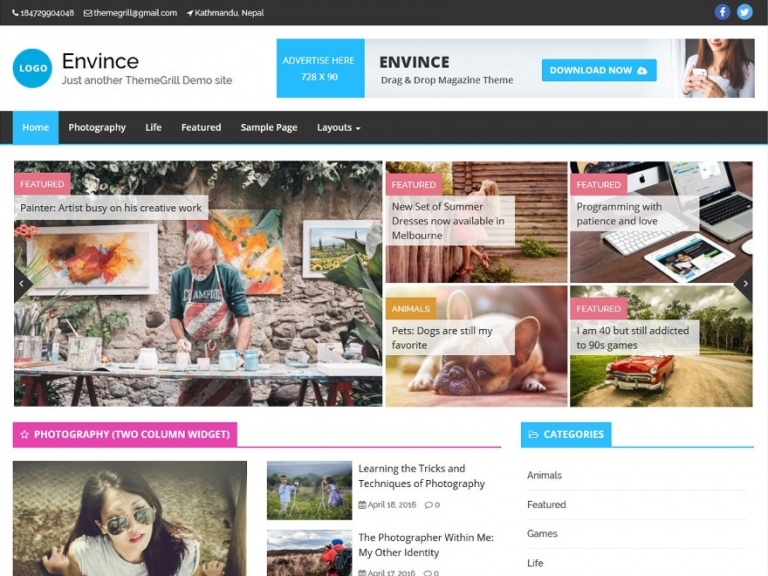 tema wordpress envince