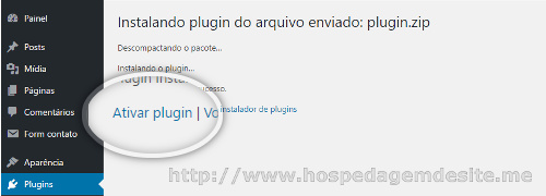ativar plugin instalado via zip