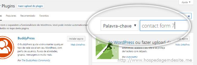 bucar formulario de contato no wordpress