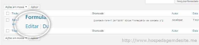 editar formulario de contato
