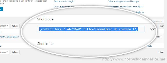 shortcode formulario de contato