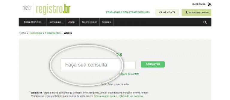 consultar dados do dominio no registro br