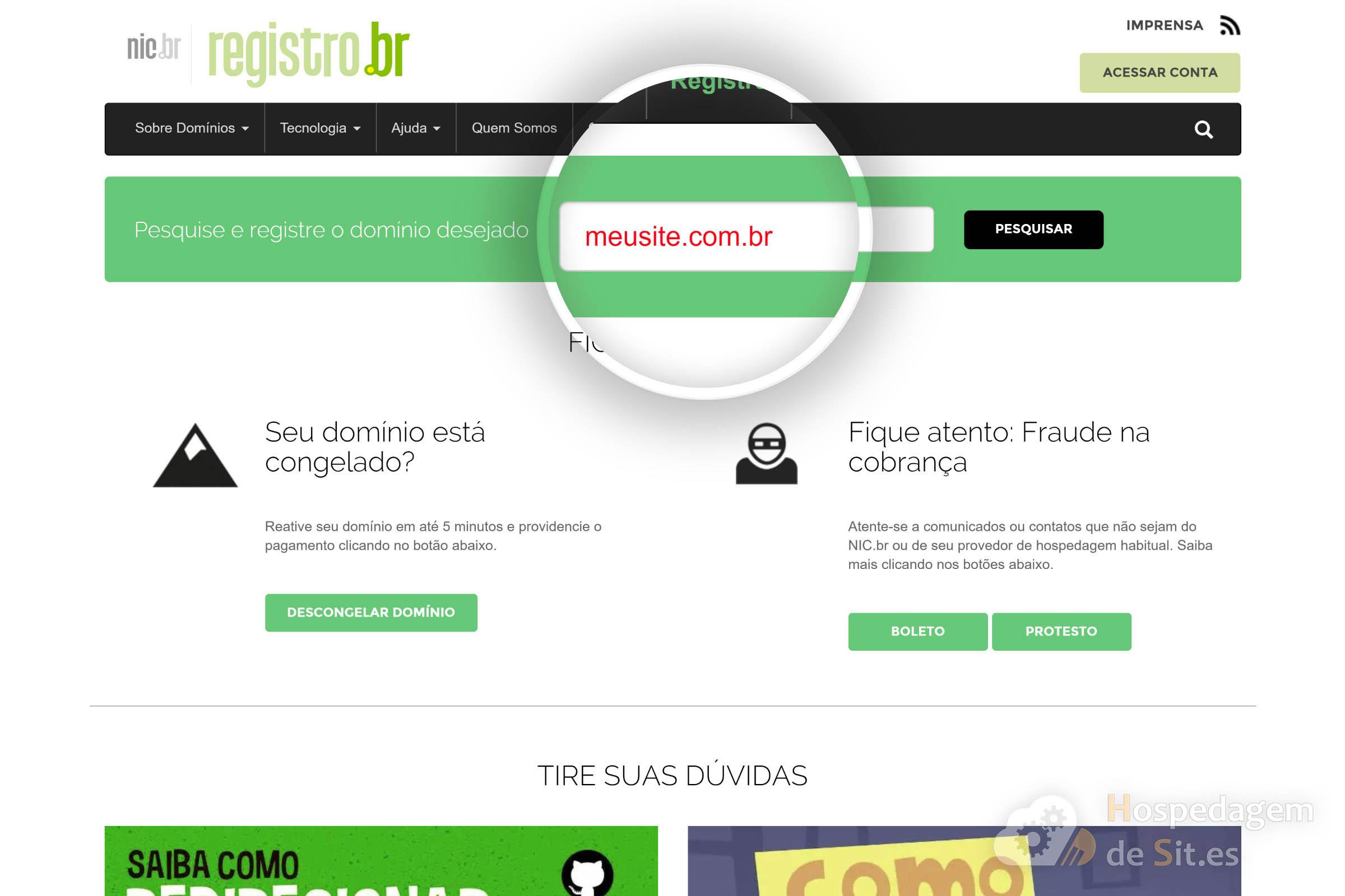 pesquisar disponibilidade de domínio registro br