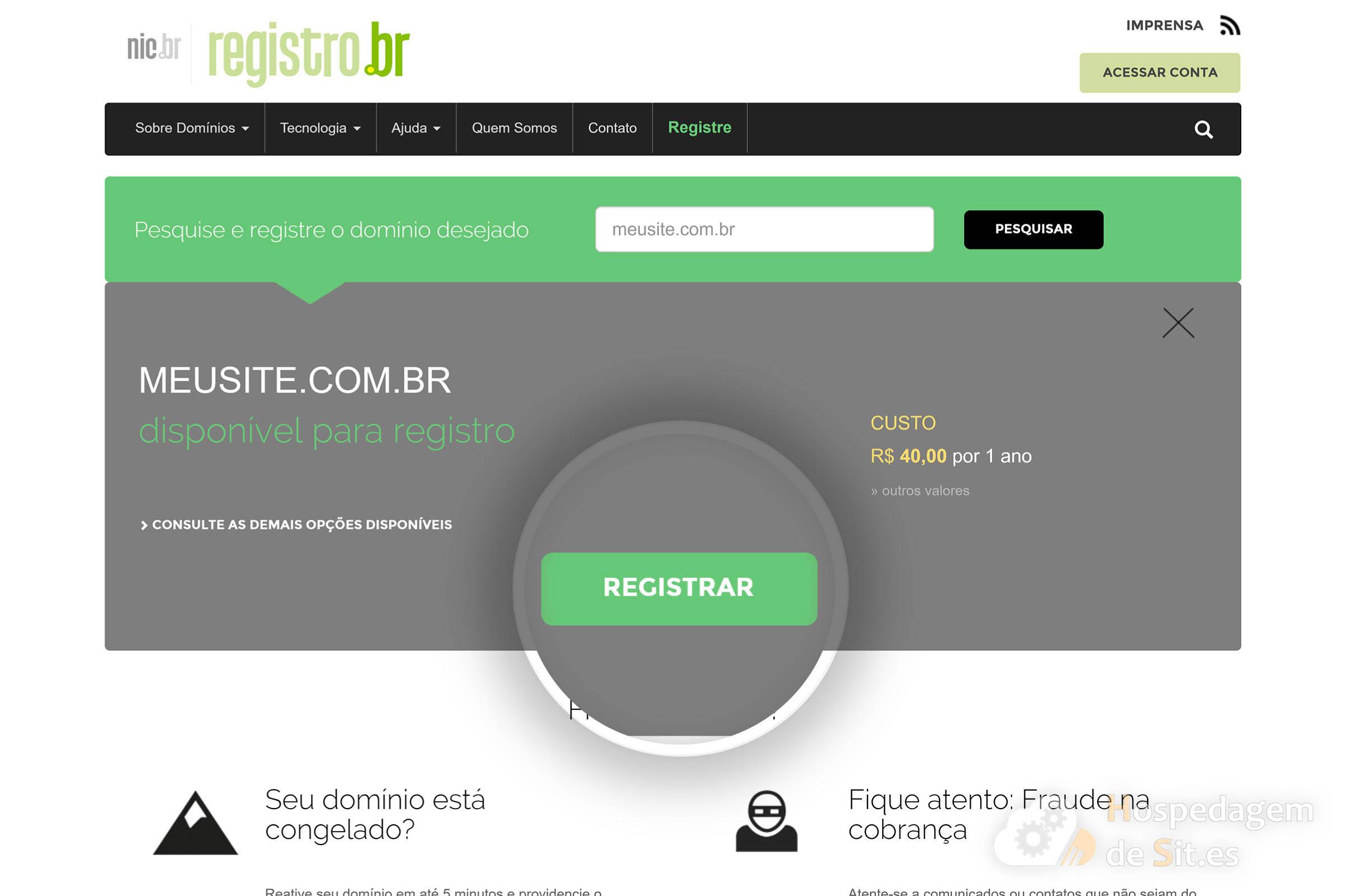 registando dominio registro br