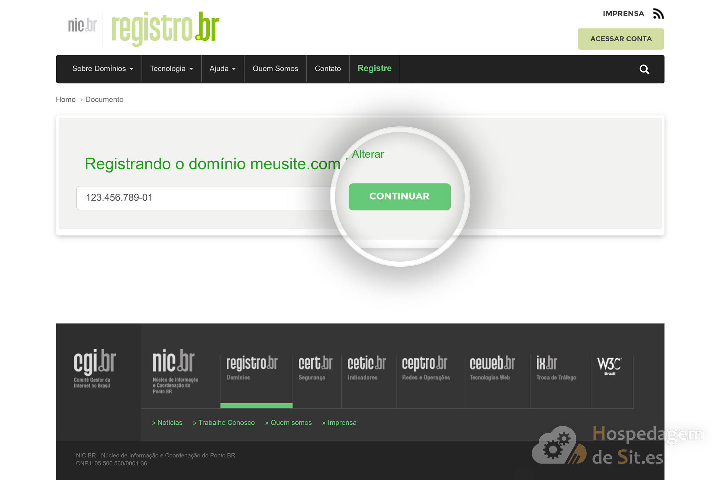 registro br informar cpf cnpj registro de dominio