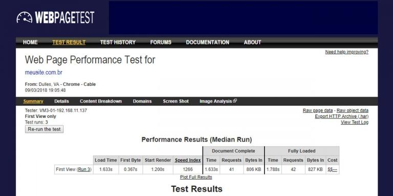 ferramenta webpagetest
