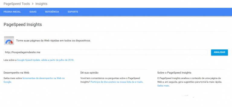 ferramenta google pagespeed insights