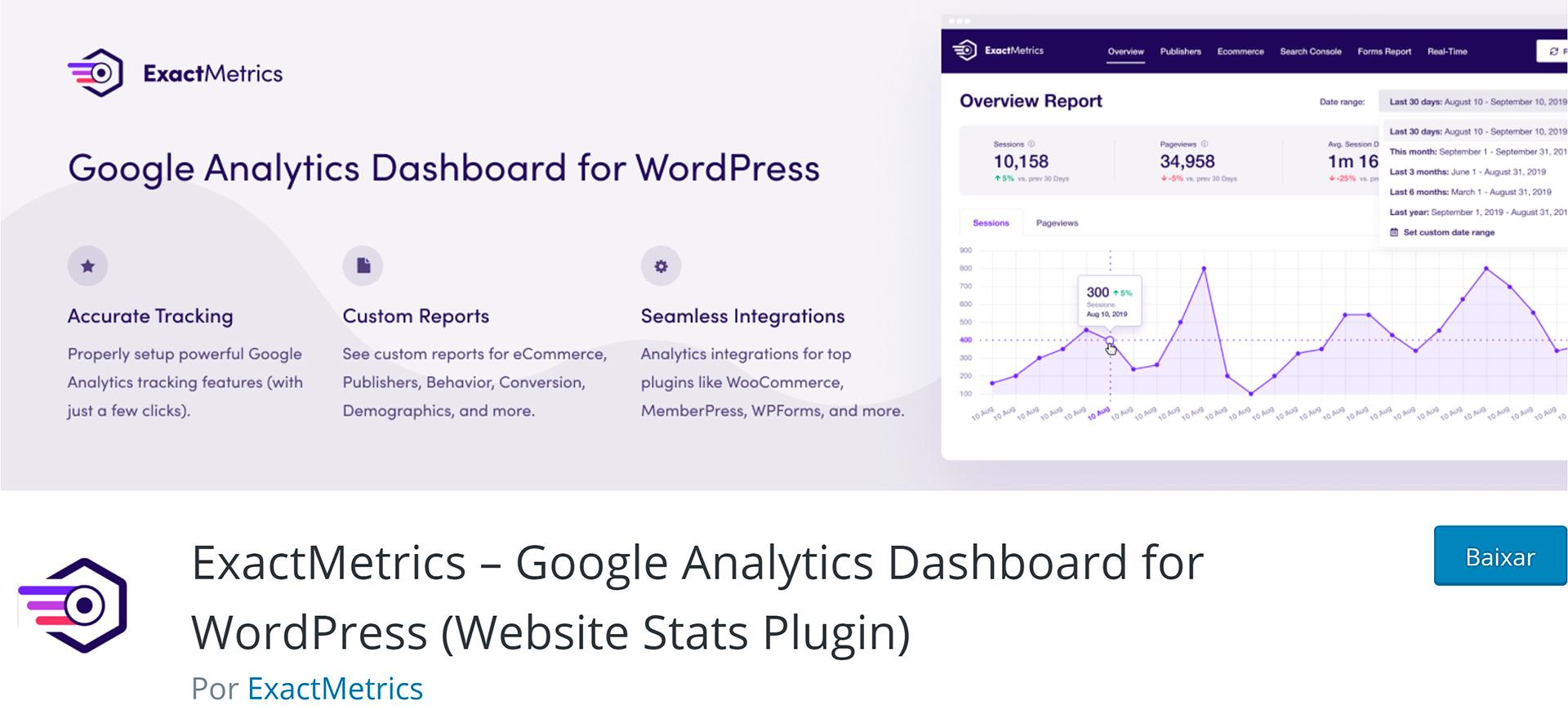 exactmetrics – google analytics dashboard plugin wordpress