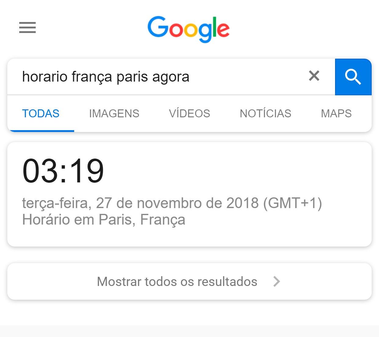 google não mosrtra nenhum site no resultado de buscas por horários