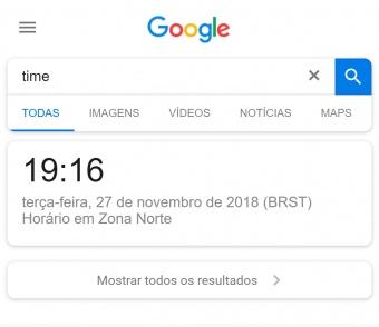google não mostra resultados ao pesquisar por time