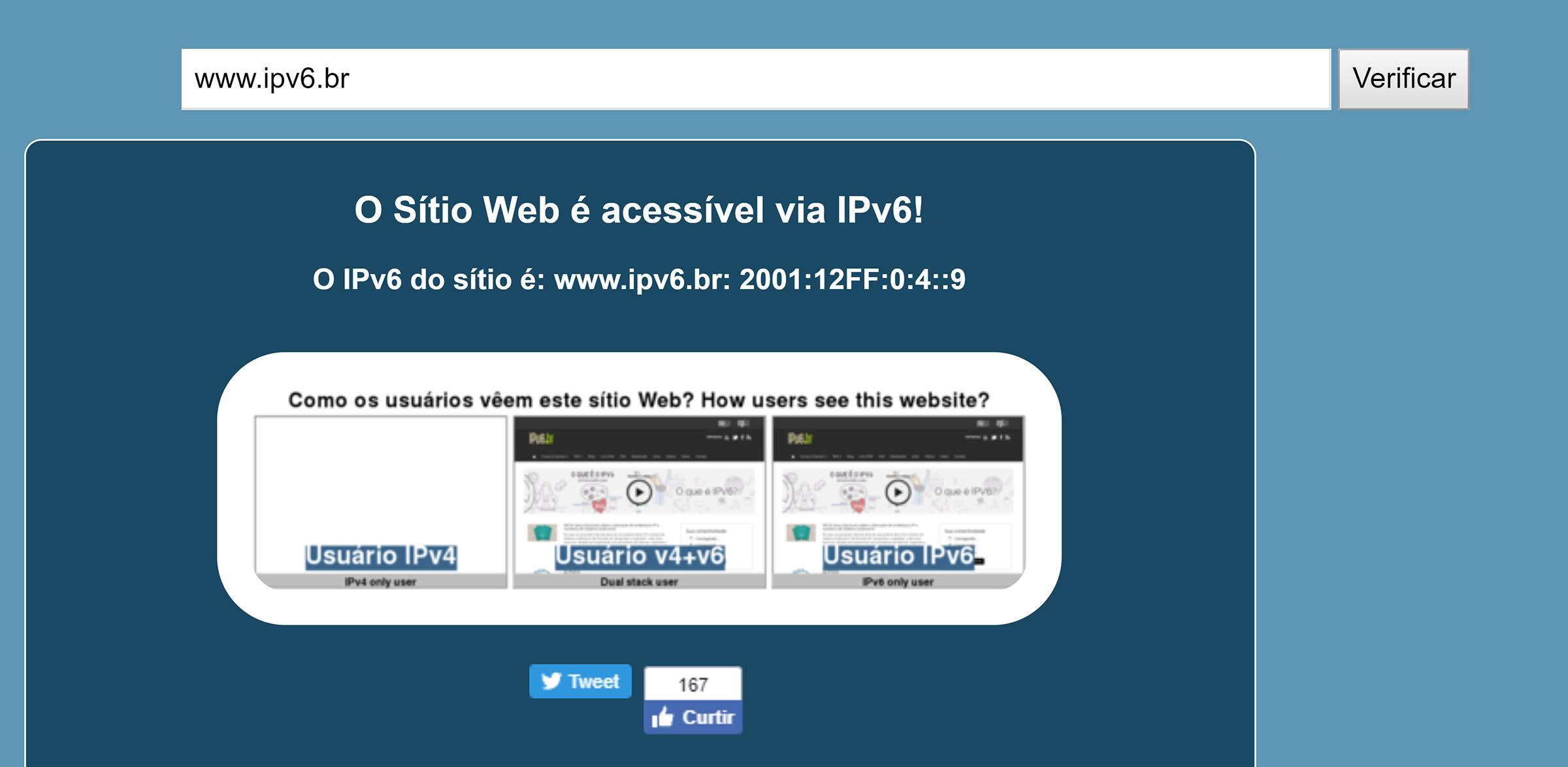 ipv6 como validar um site