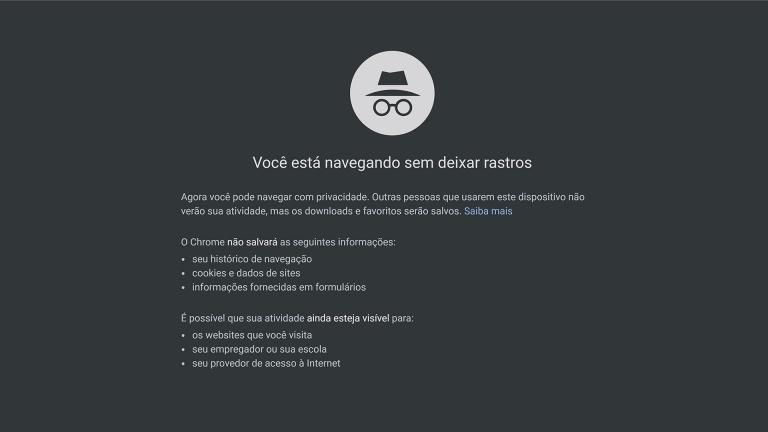 modo anônimo do navegador não evita que o google rastreie os usuários