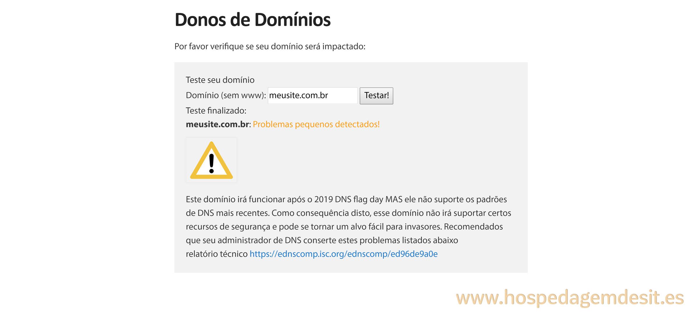 dnsflagday dominio com servidor que requer atenção