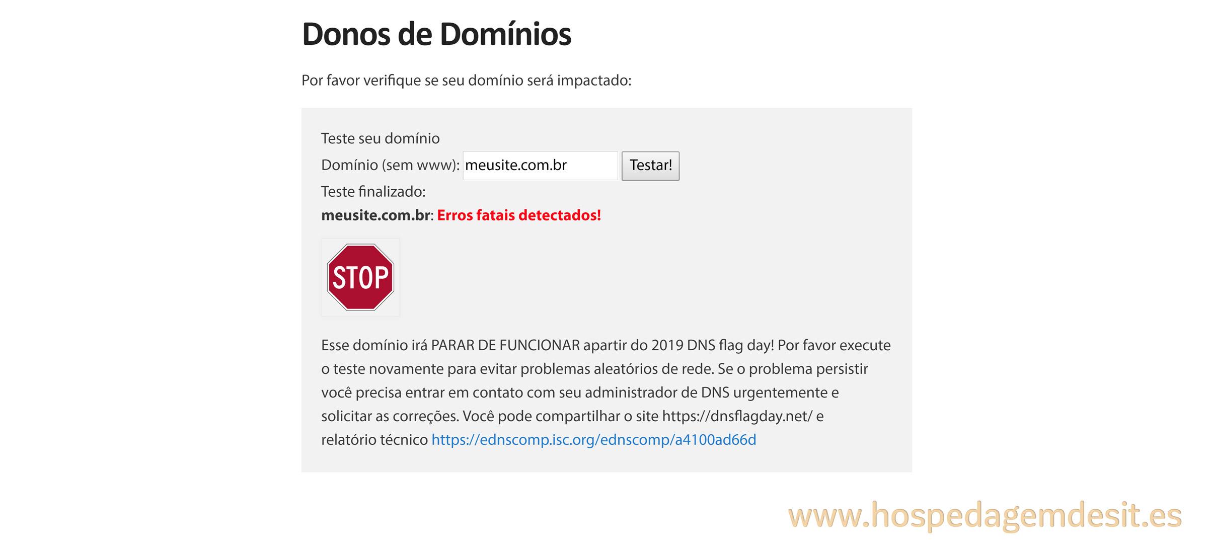 dnsflagday dominio que pode deixar de funcionar