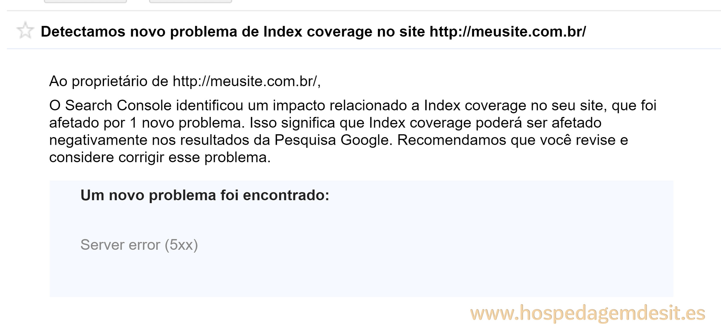 erro de index coverage erro do servidor