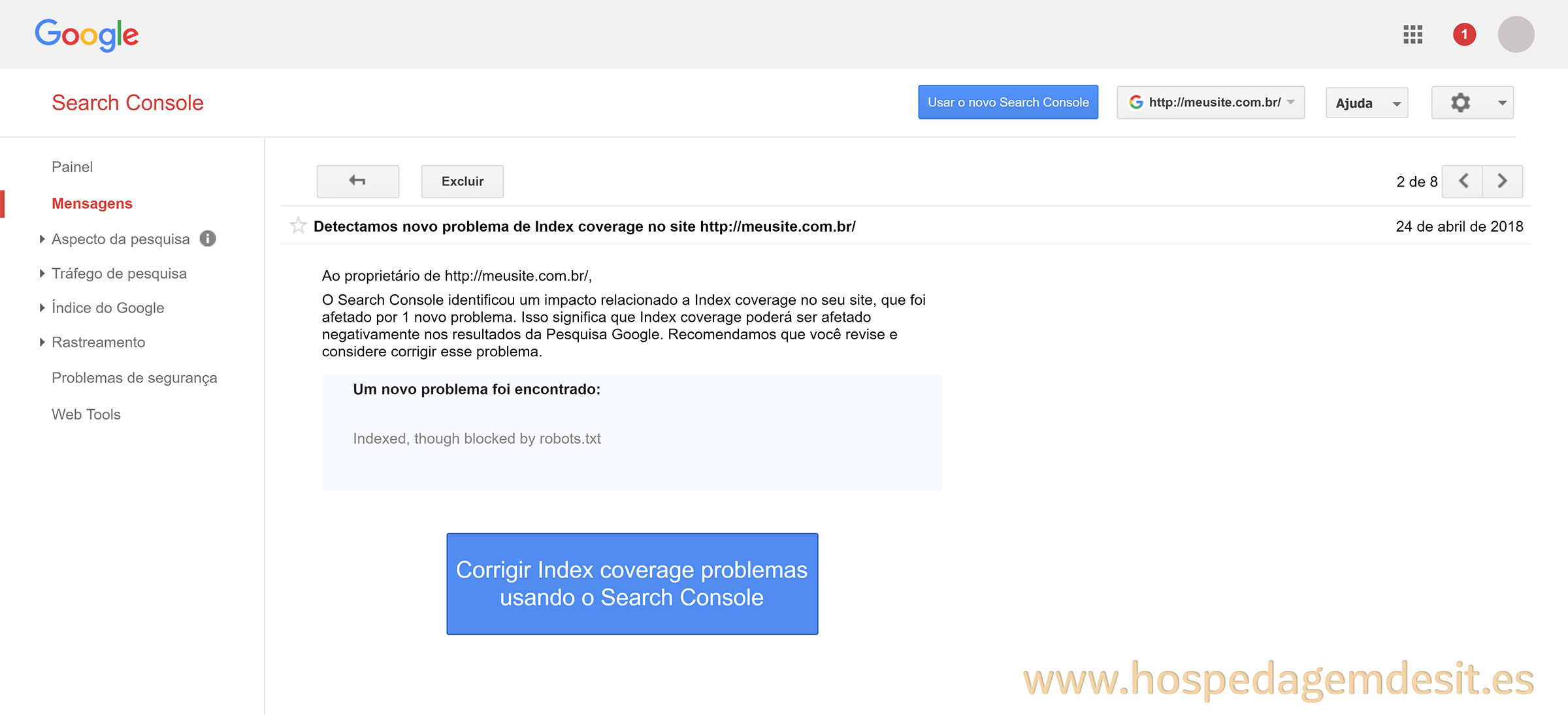 erro de index coverage mesangem google search console