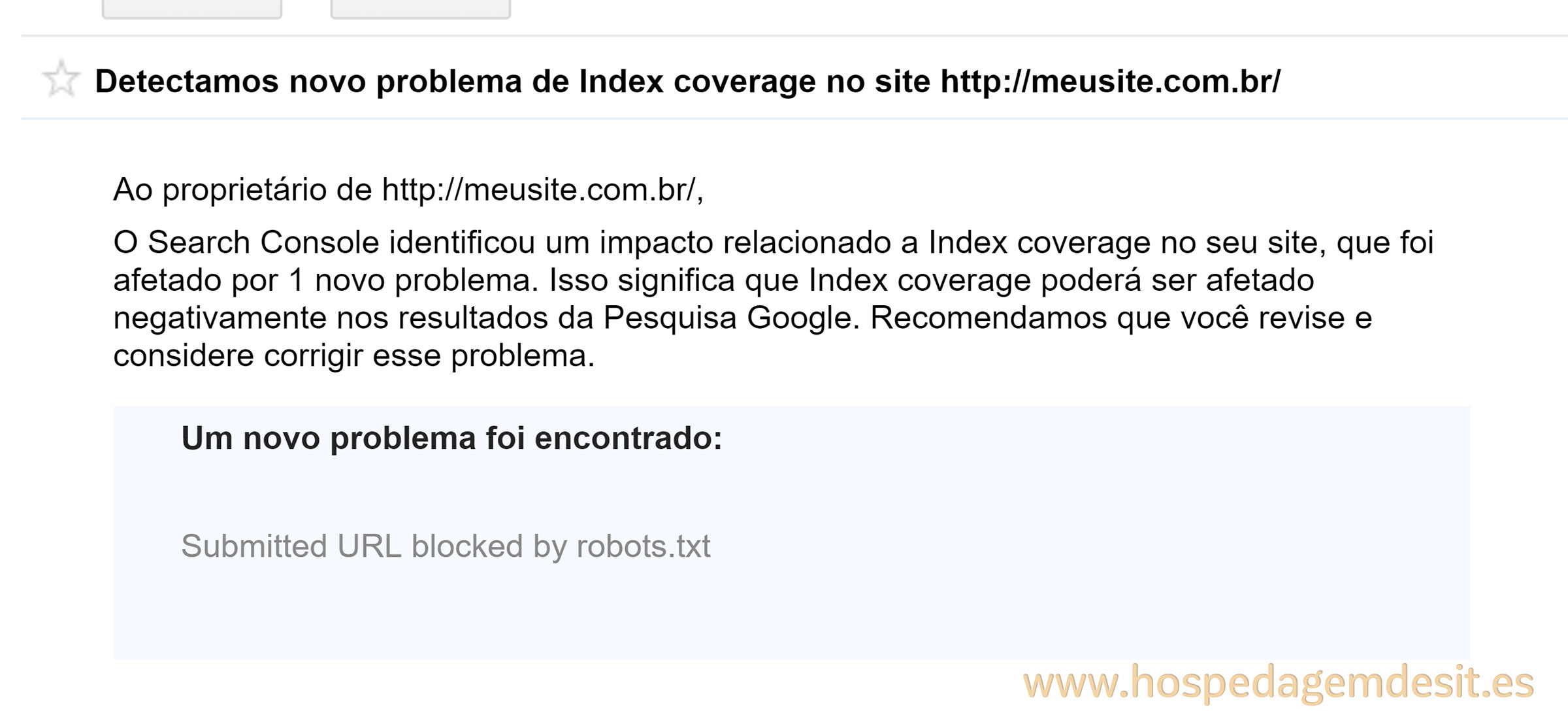 erro de index coverage url indexada bloqueada pelo robots.txt