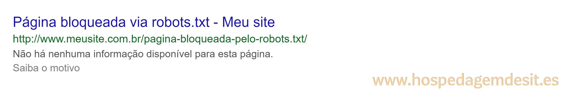 exemplo de página bloqueada pelo arquivo robots.txt