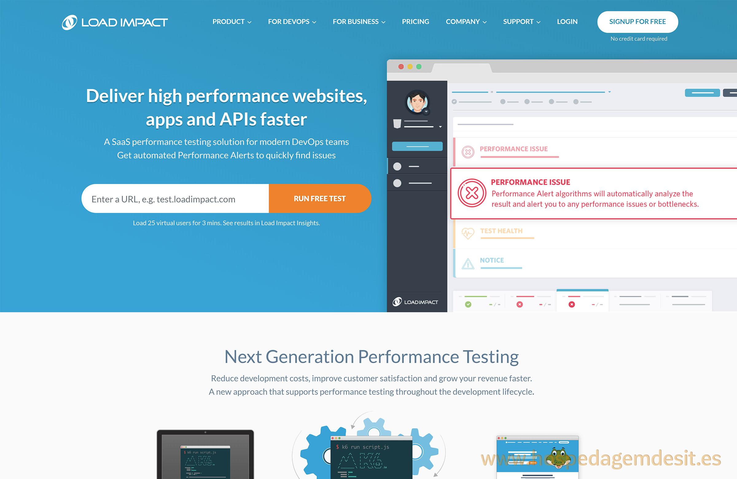 load impact teste de desempenho