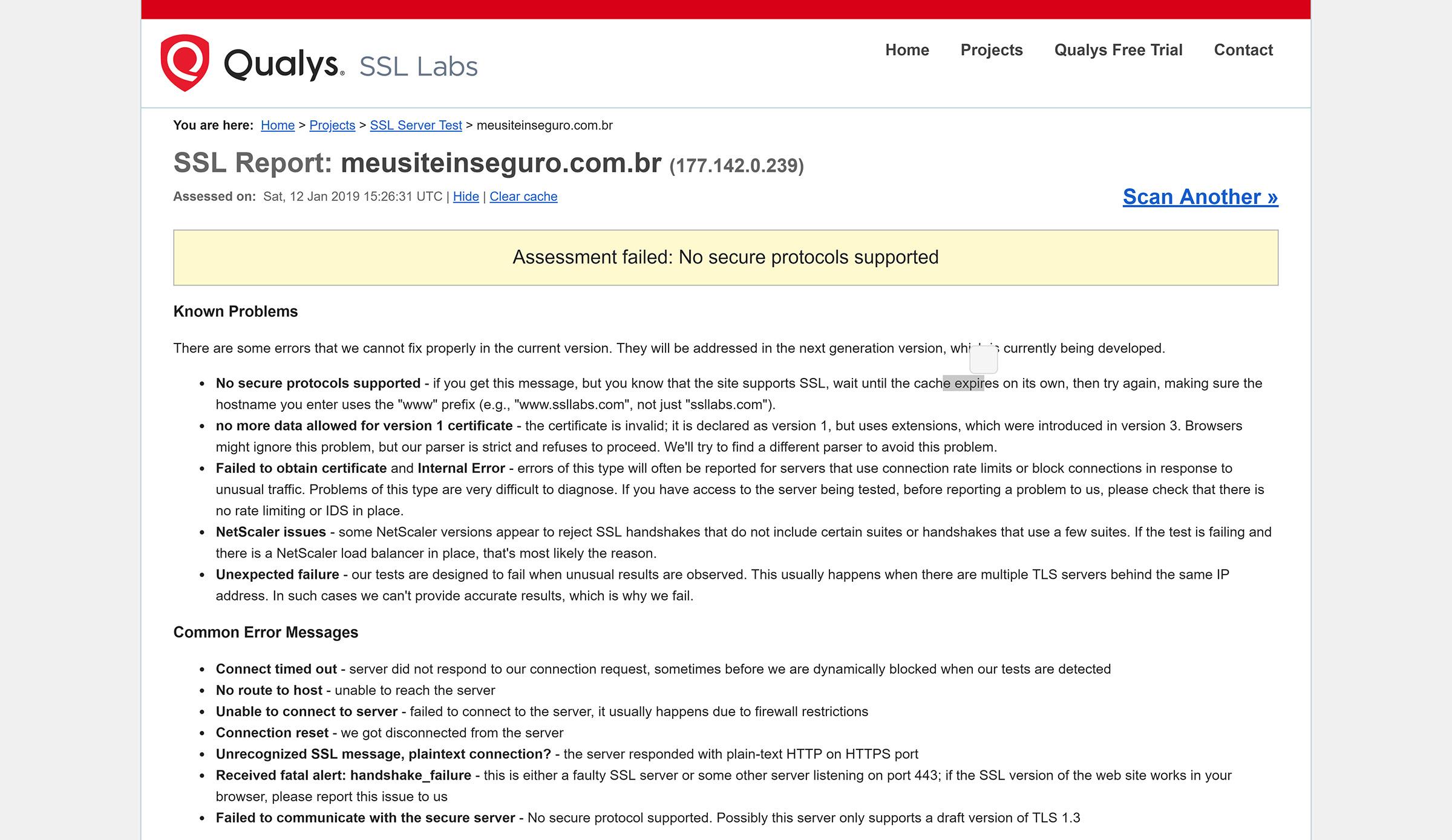 site sem https e certificado ssl valido