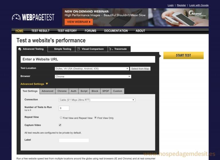 webpagetest testar picos de acesso