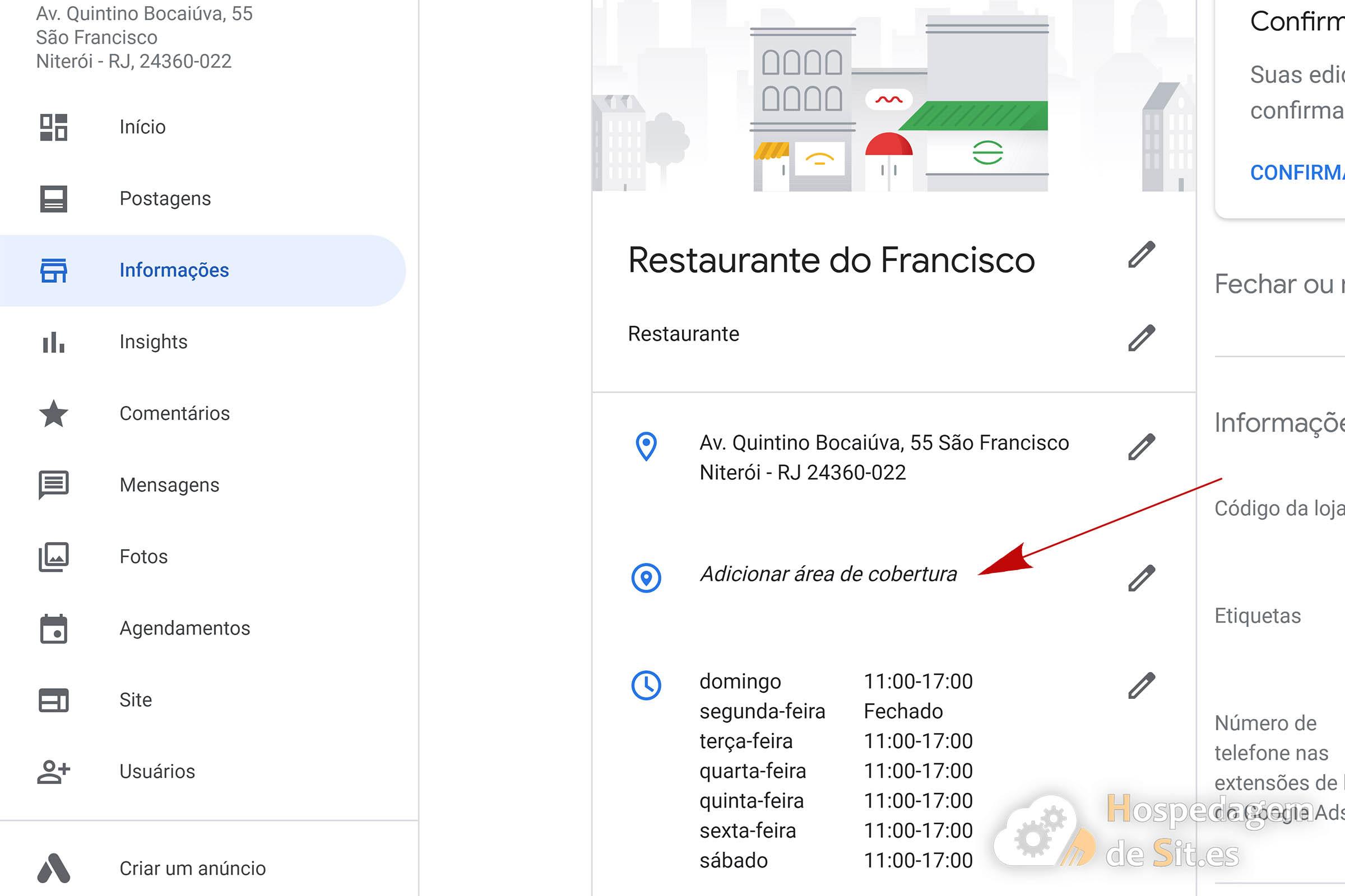 google meu negócio adicionar Área de cobertura