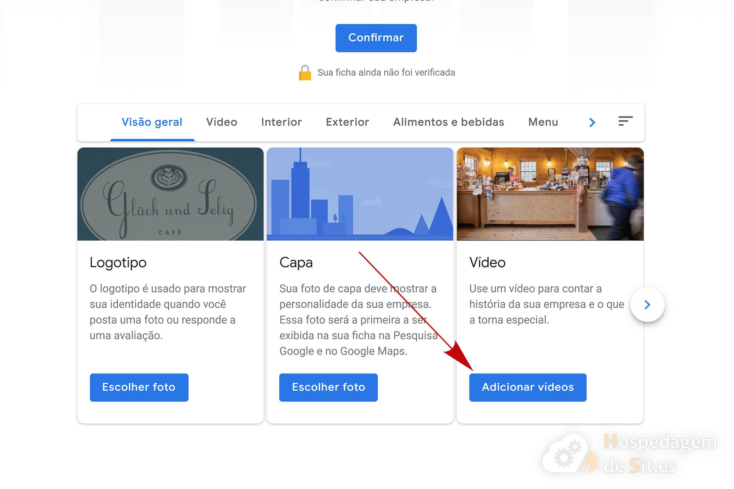 google meu negócio botão add vídeo