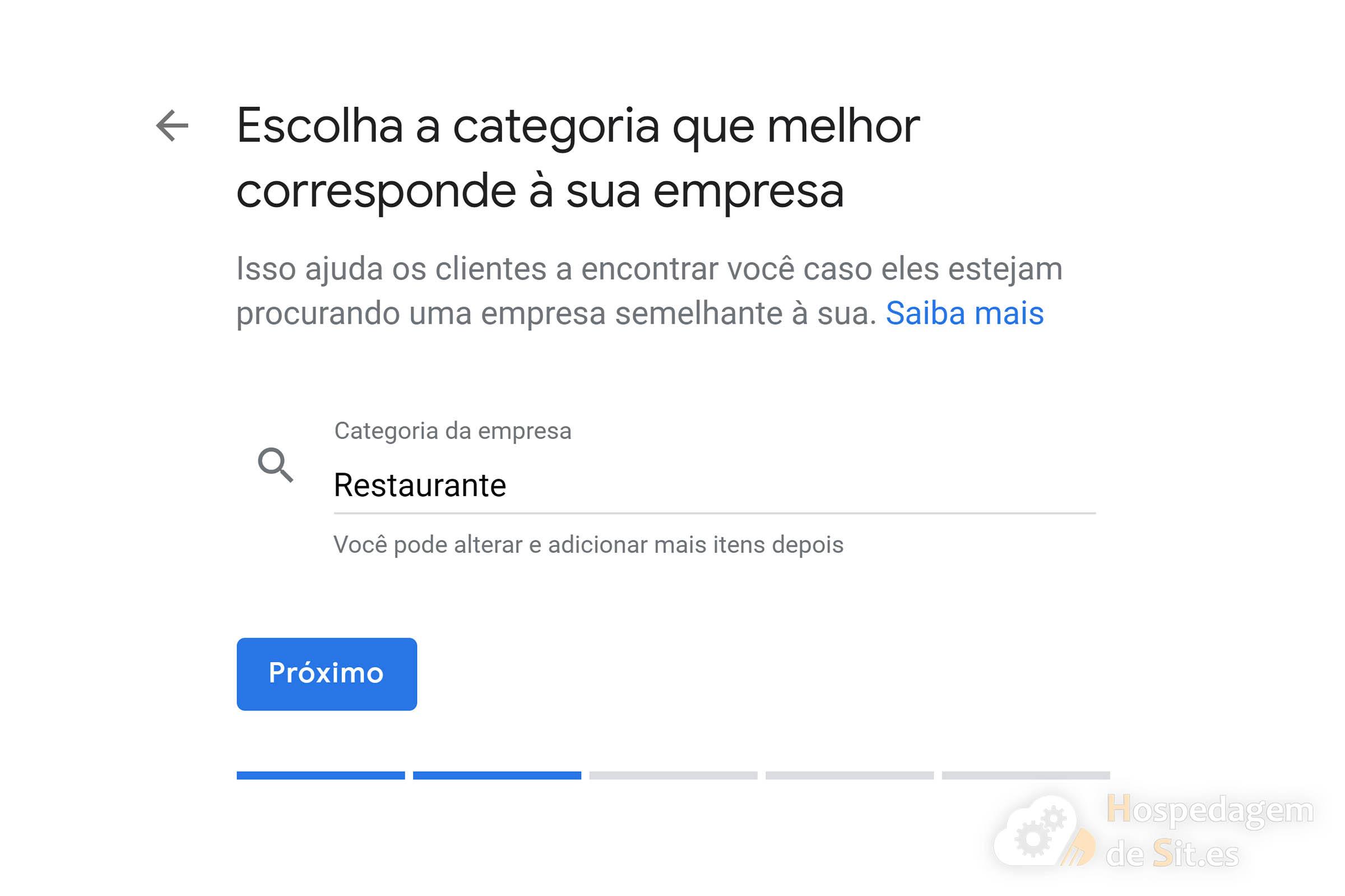 google meu negócio categoria