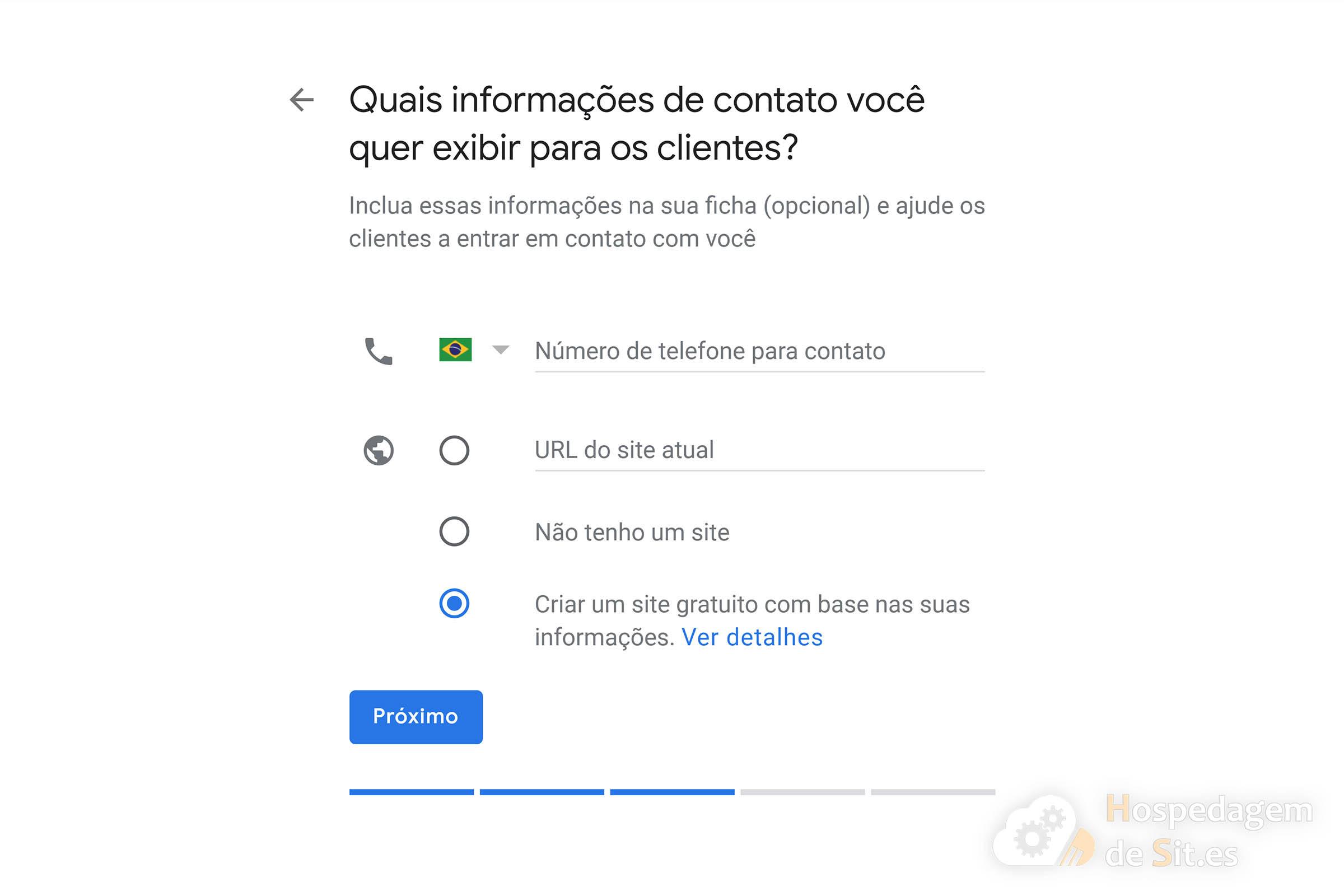 google meu negócio dados de contato