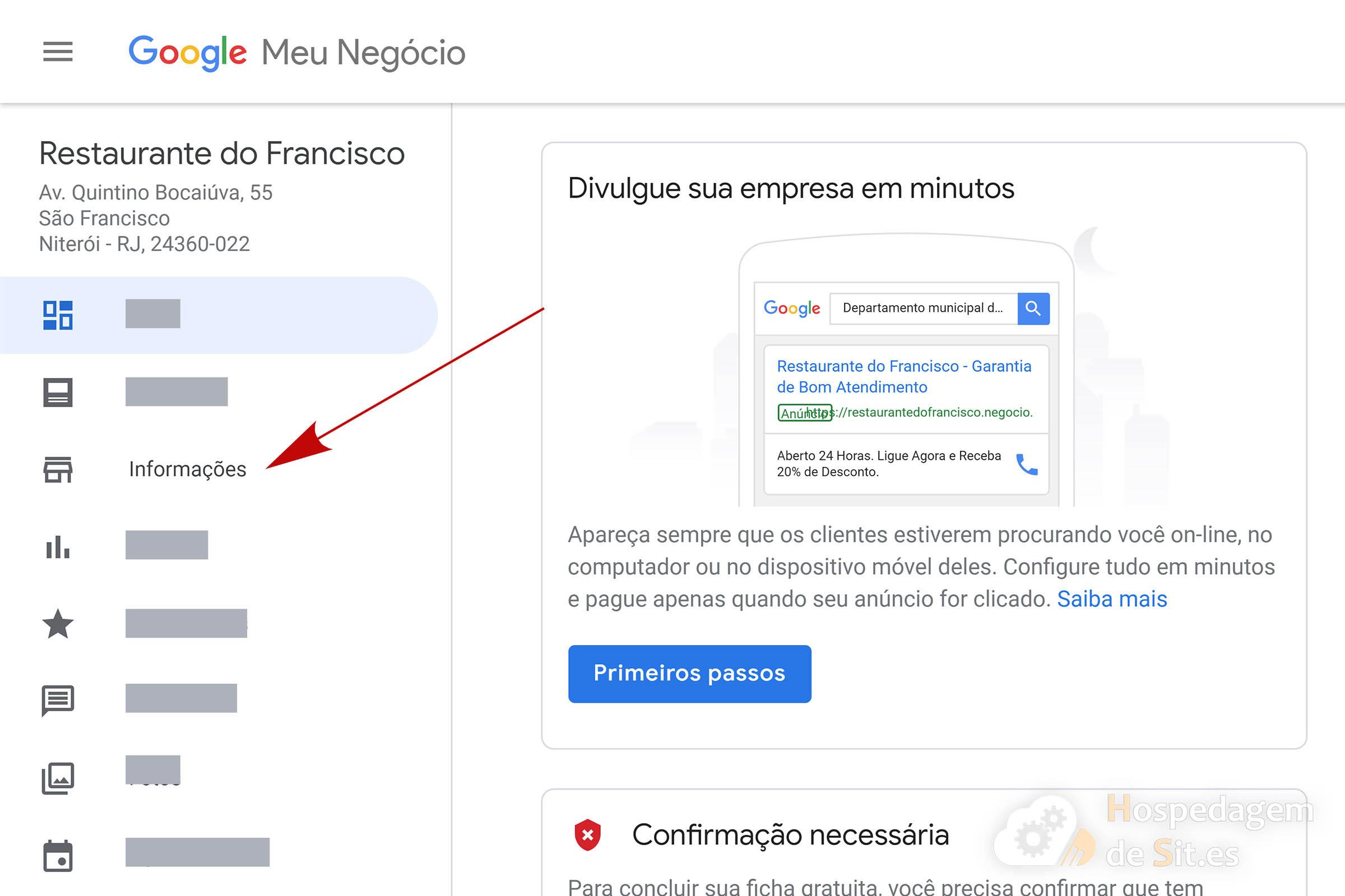 google meu negócio menu informações