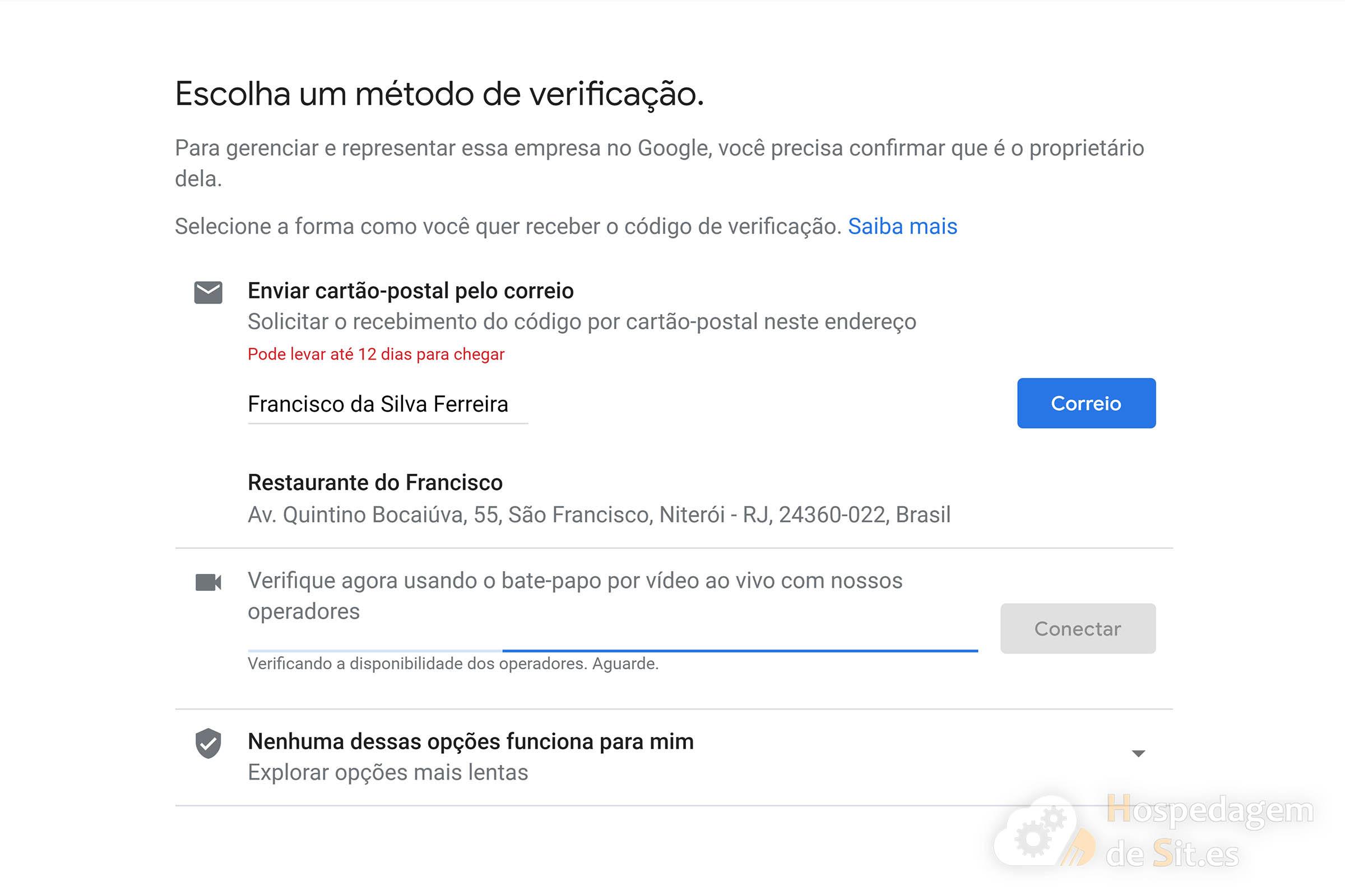 google meu negócio métodos de verificação