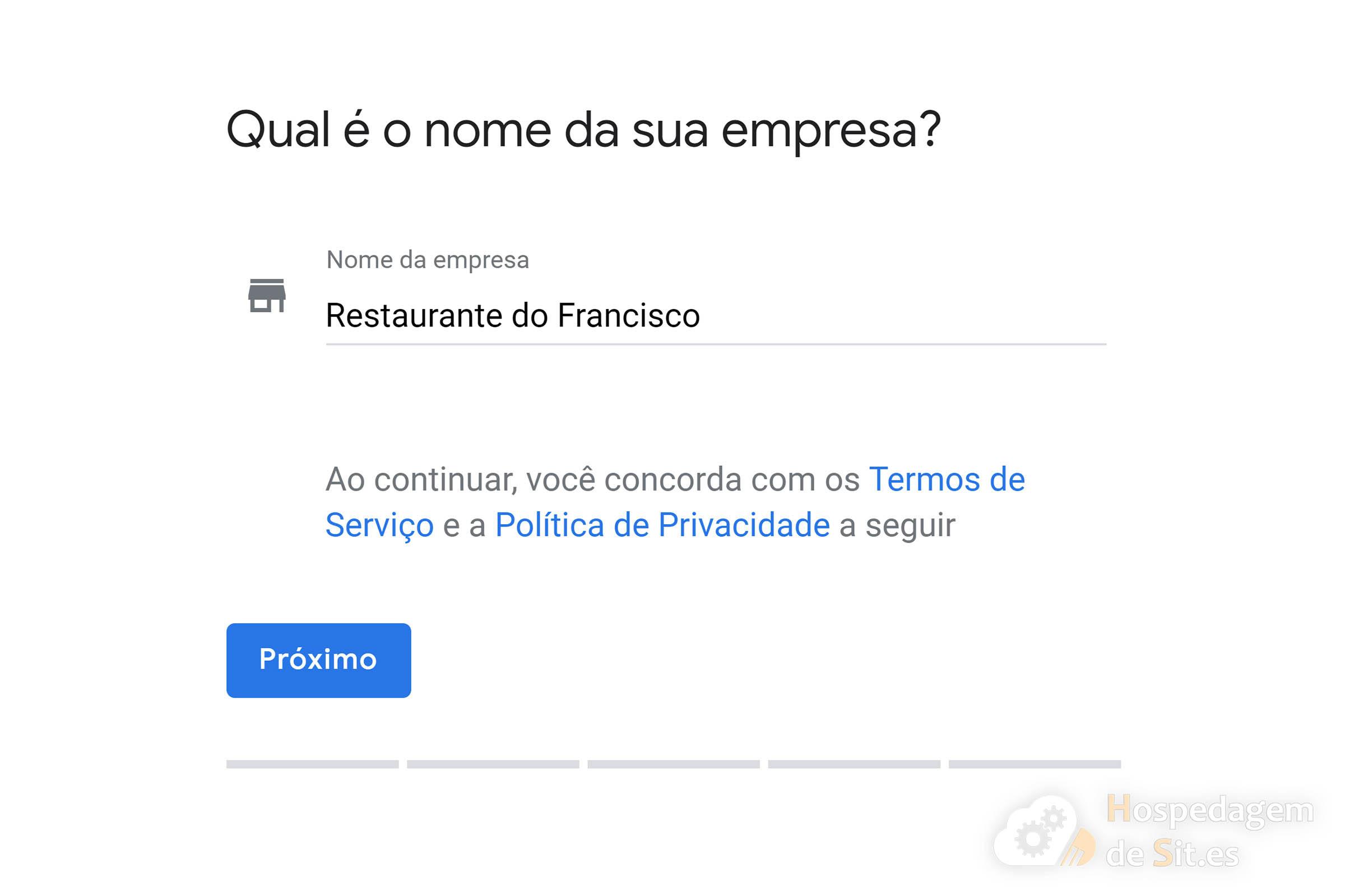 google meu negócio nome da empresa