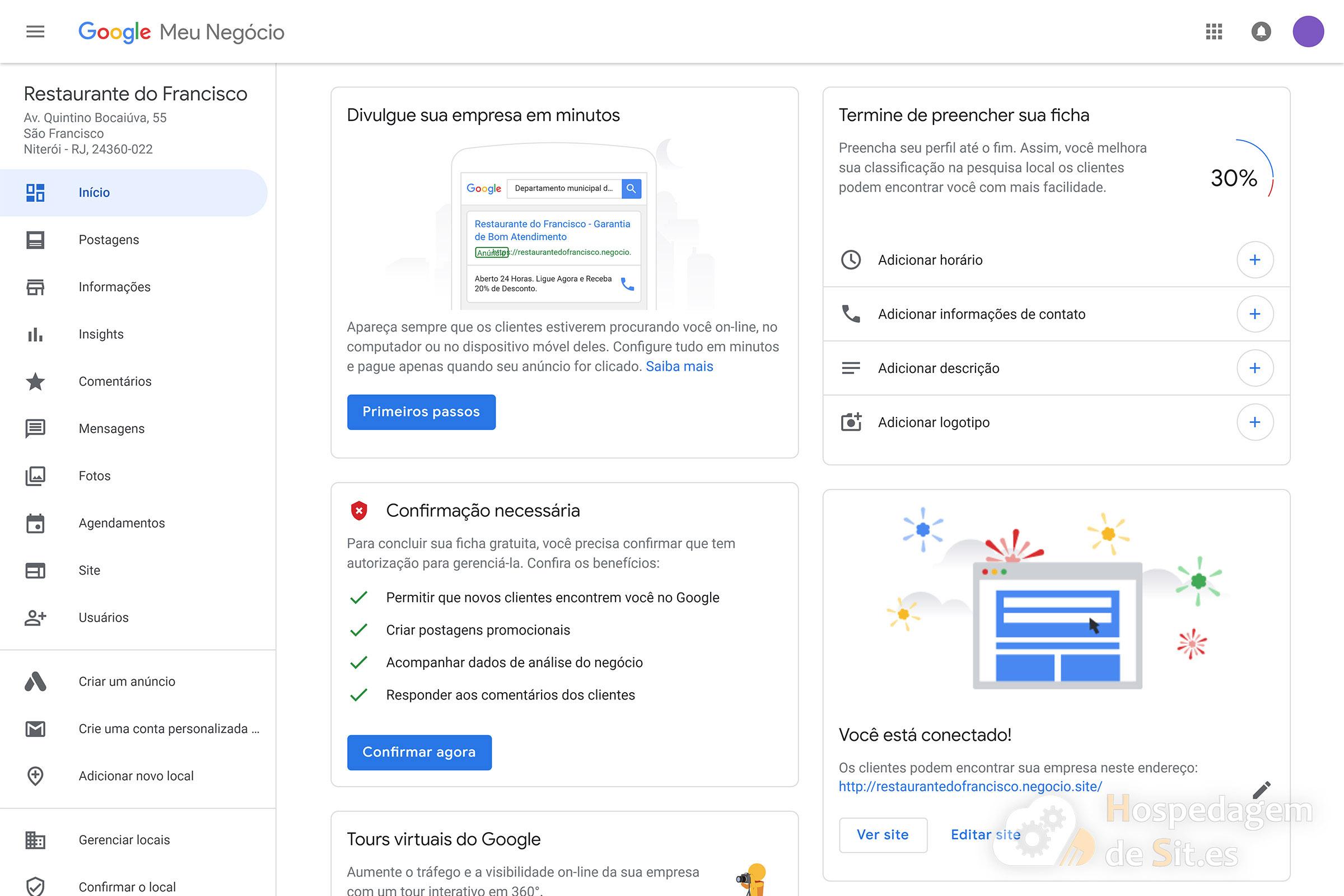 google meu negócio painel