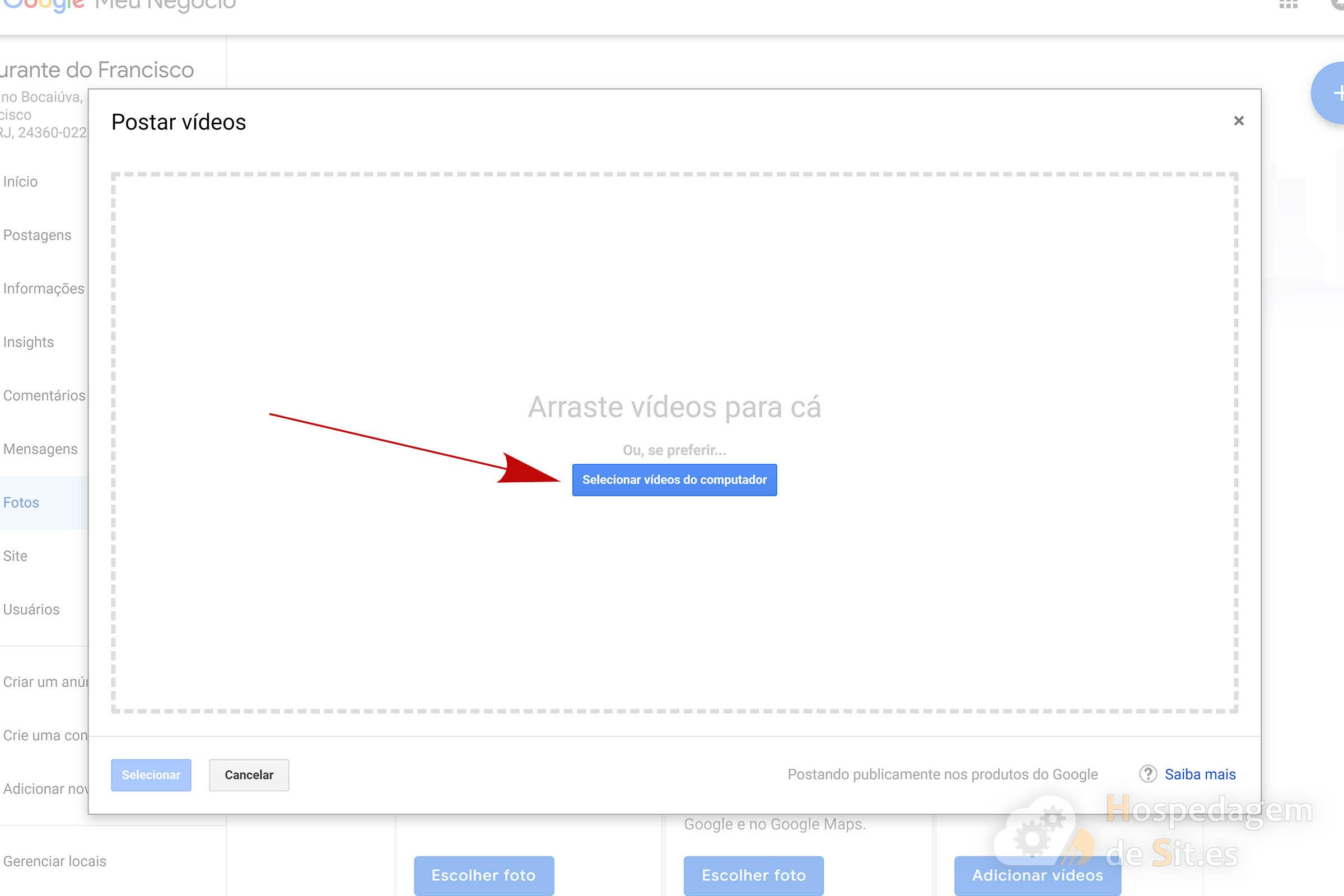 google meu negócio selecionar vídeo