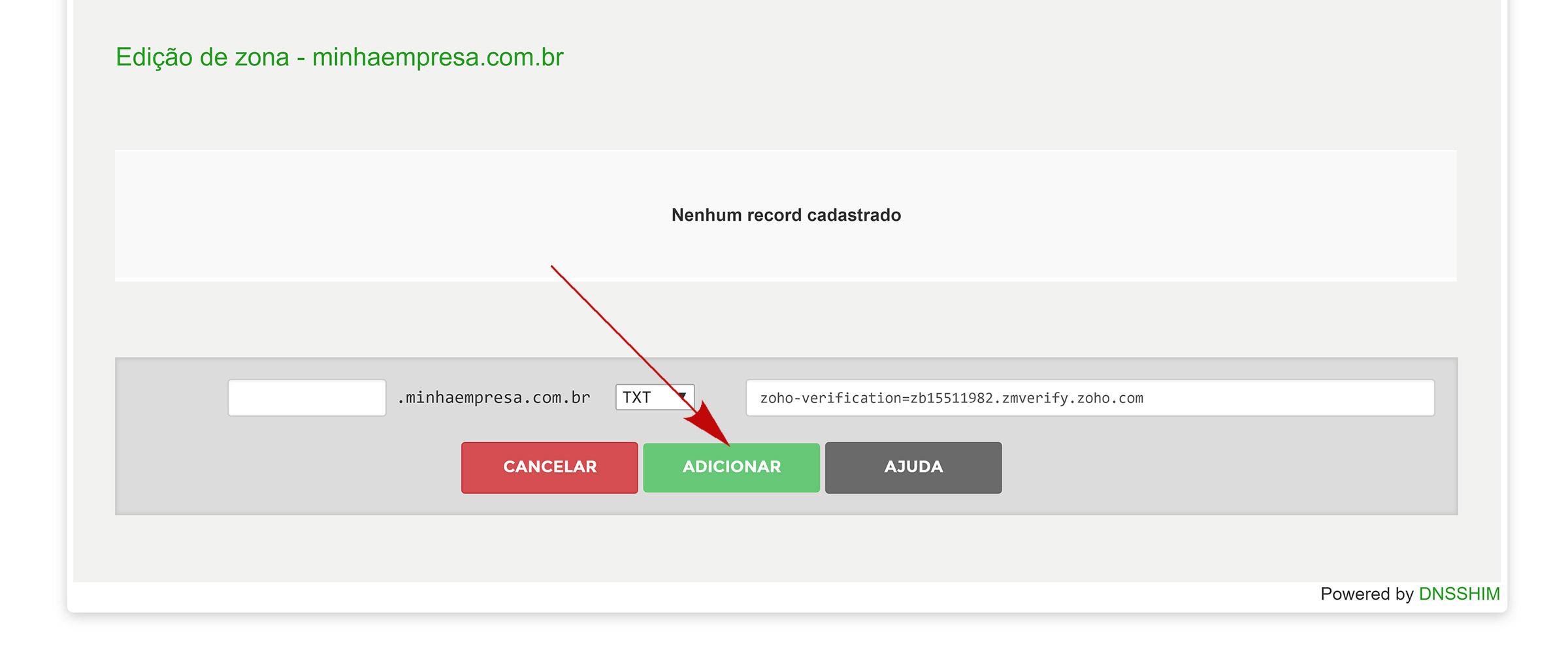 registro.br adicionar registro de verificação zoho