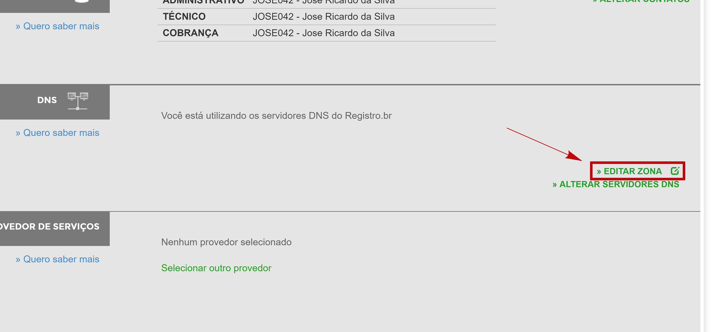 registro.br editar zona dns