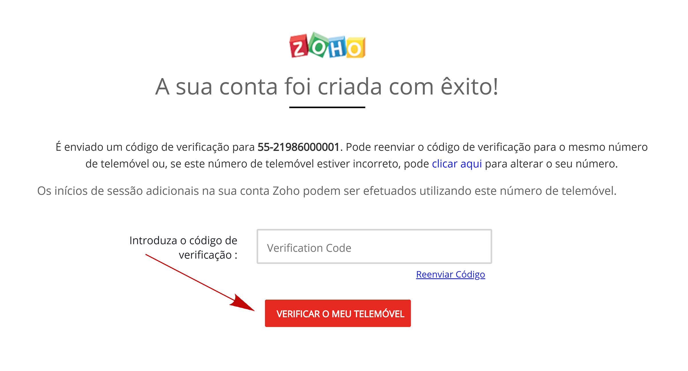 zoho confirmar número do telefone