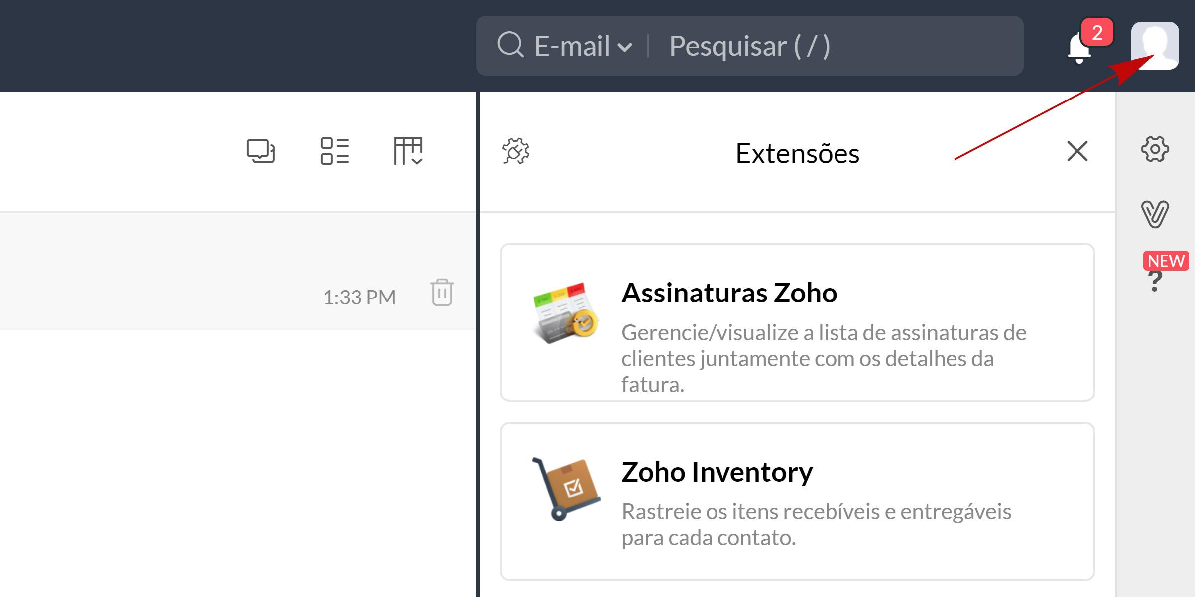 zoho mail acessando configurações