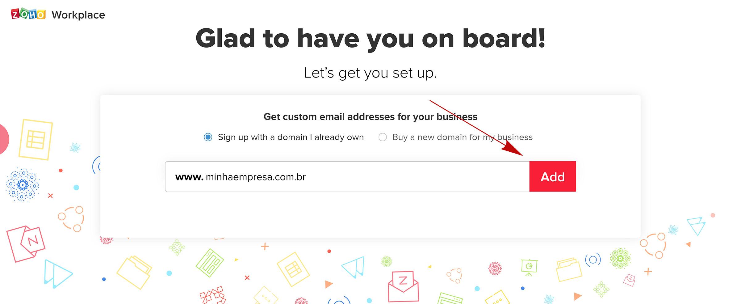 zoho mail adicionar dominio