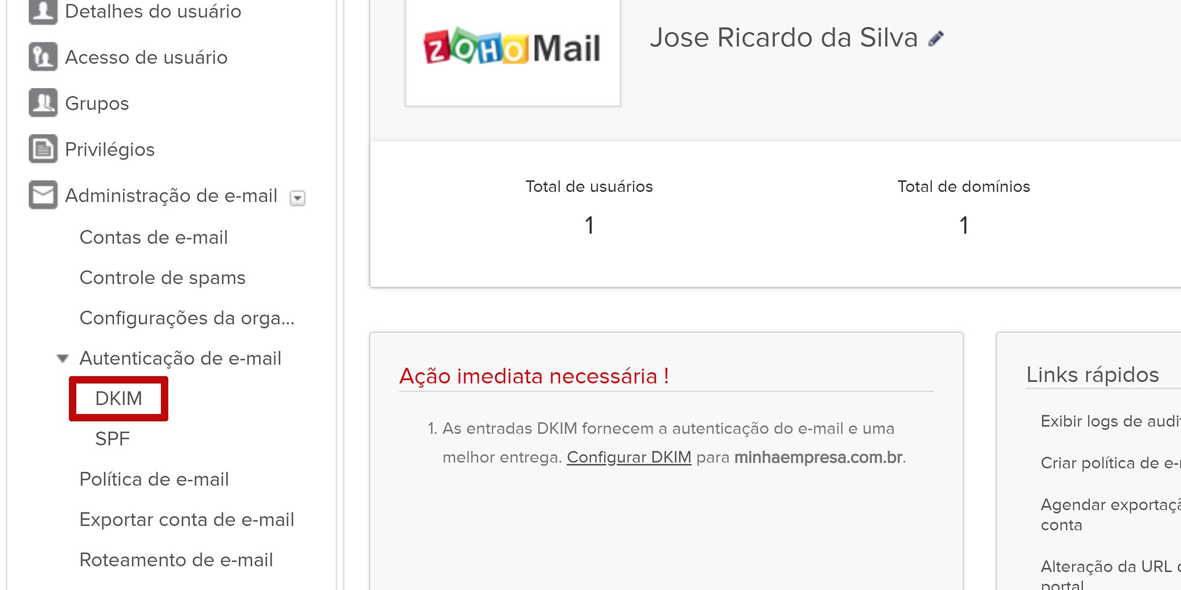 zoho mail configurar dkim