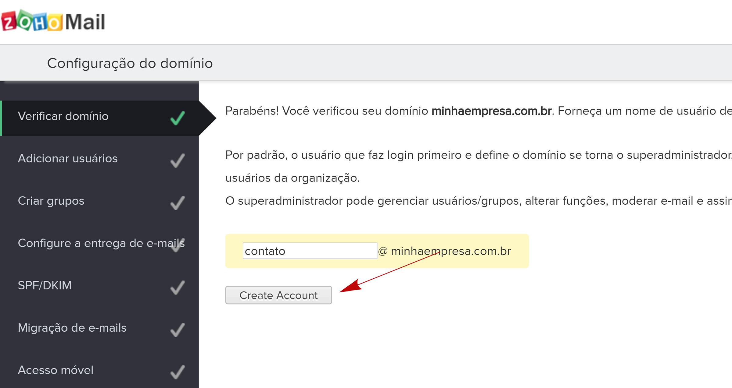 zoho mail criar conta de email