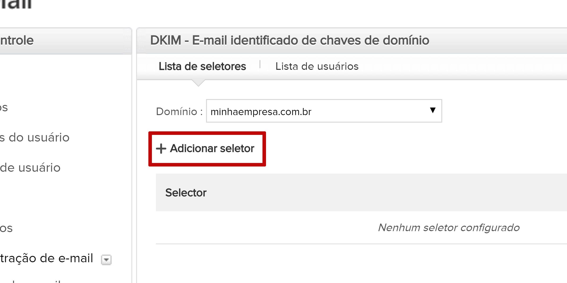 zoho mail dkim adicionar seletor