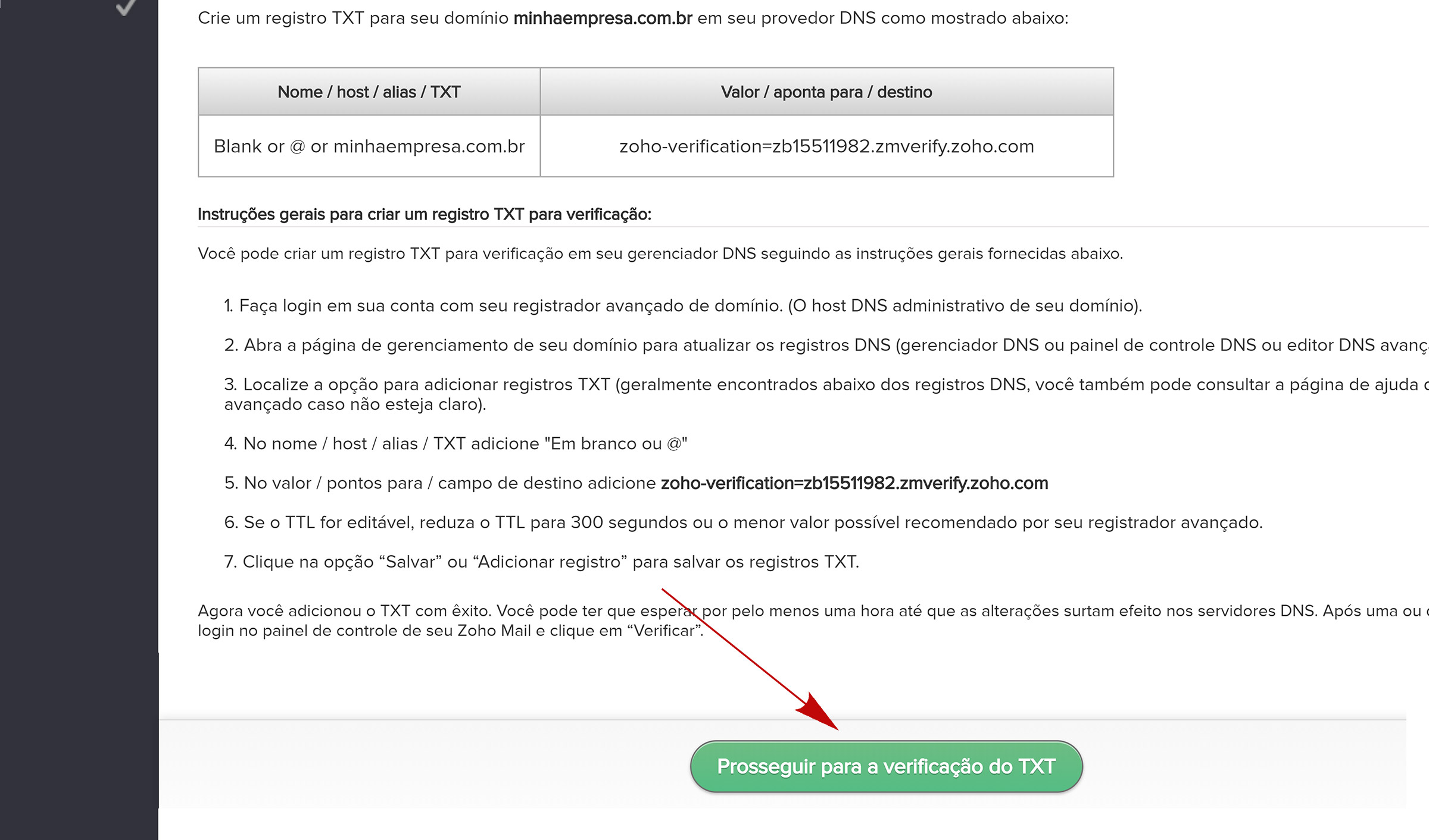 zoho verificar dominio do e mail